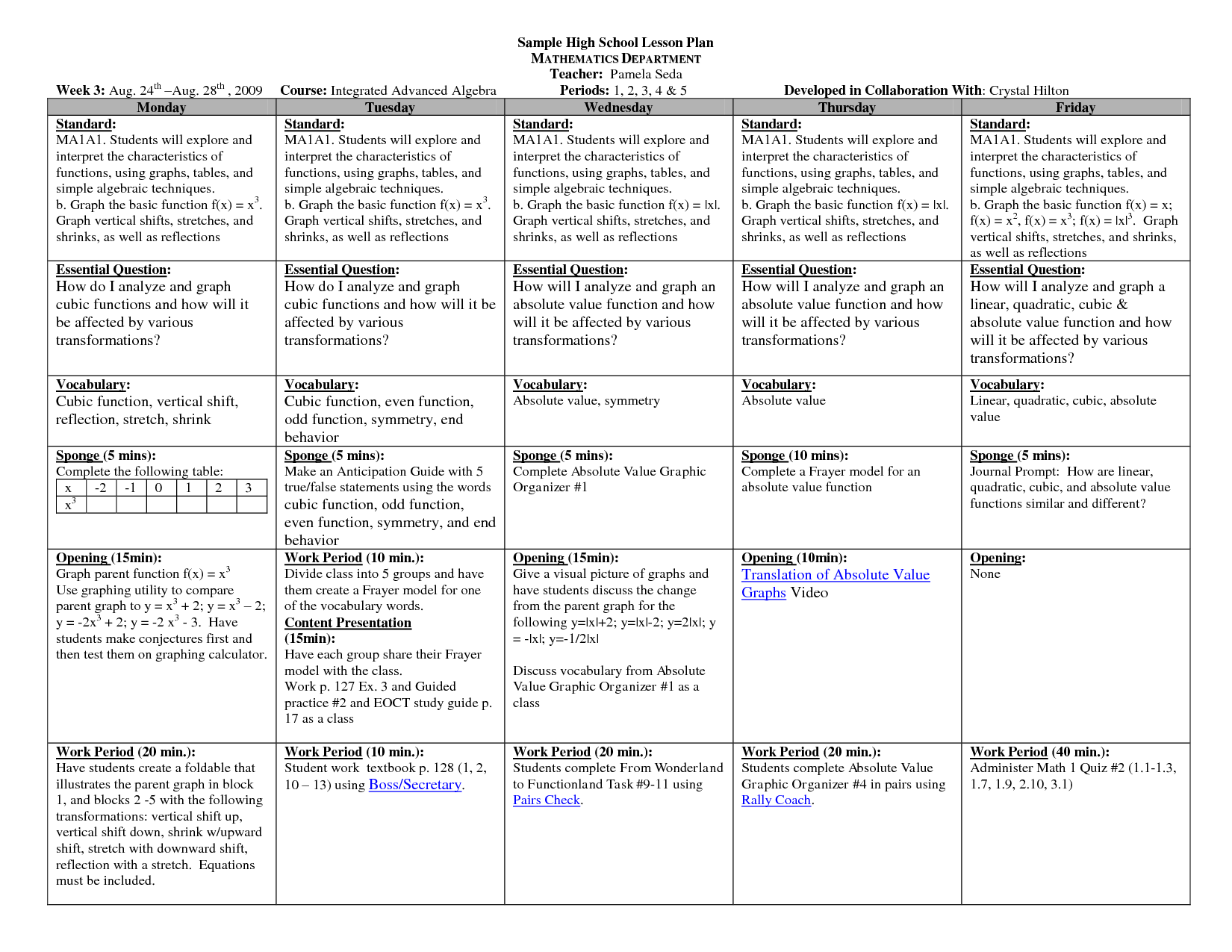 Lesson Plan Template High School Math Printable Schedule