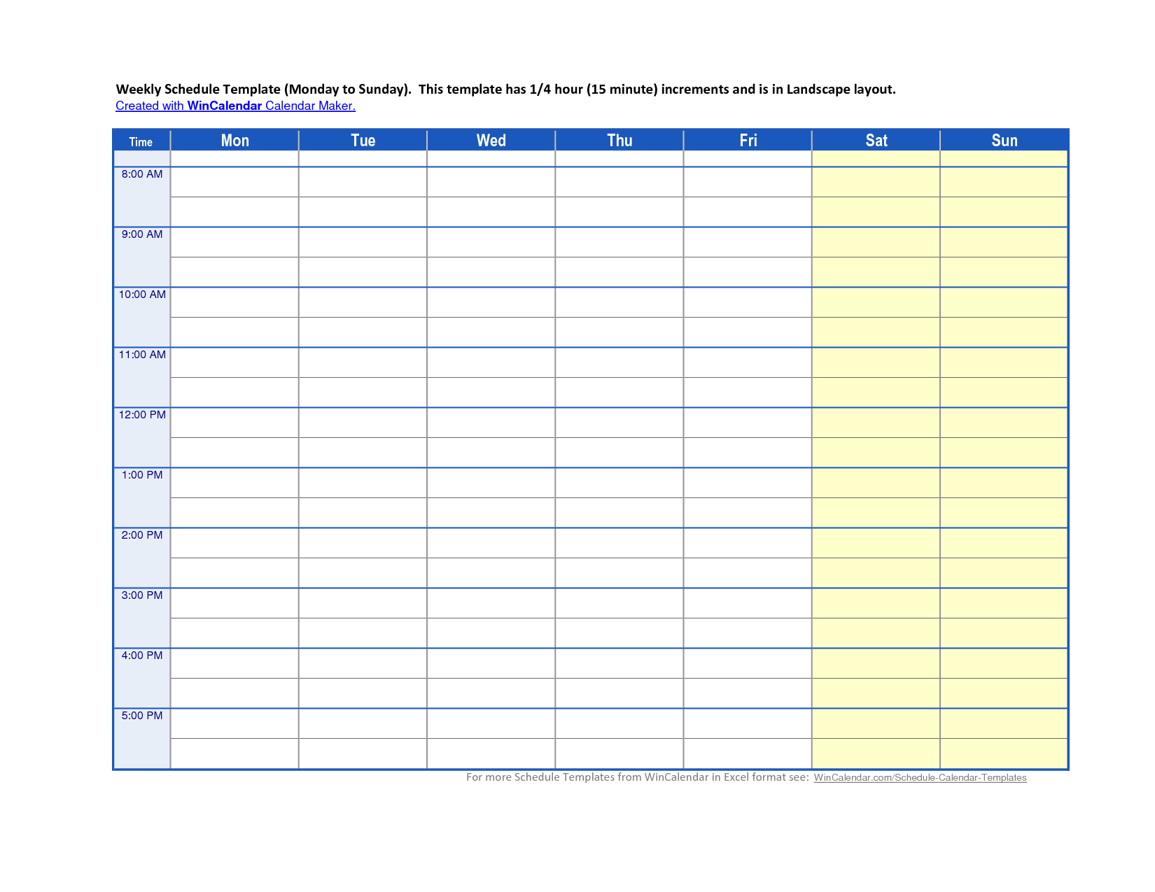 Admin Page 8 Printable Schedule Template