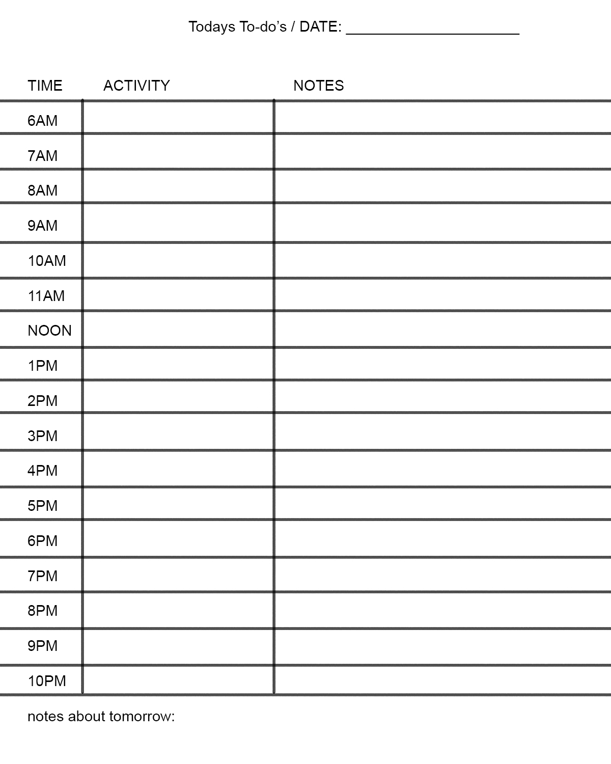 Schedule Making Template Printable Schedule Template