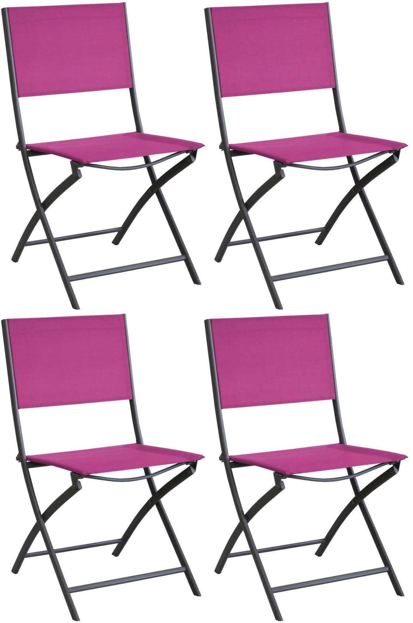 chaise pliante en acier et toile dream lot de 4 gris framboise