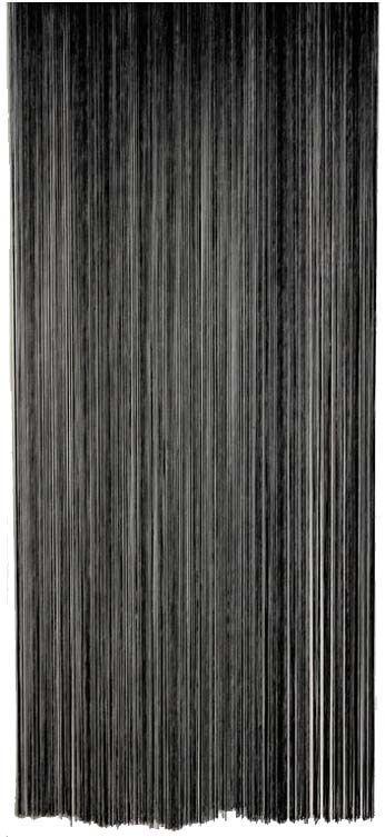 rideau fil de porte en polyester noir