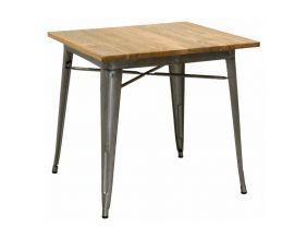 table carree industrielle en metal et bois d orme huile acier brosse