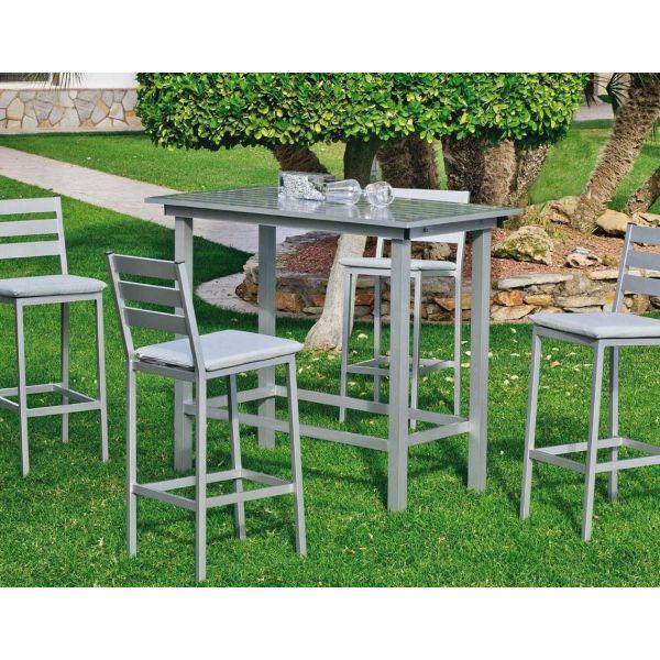 bar de jardin avec 4 chaises galicia gris clair