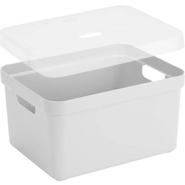 boite de rangement avec couvercle transparent sigma home box 32 l blanc