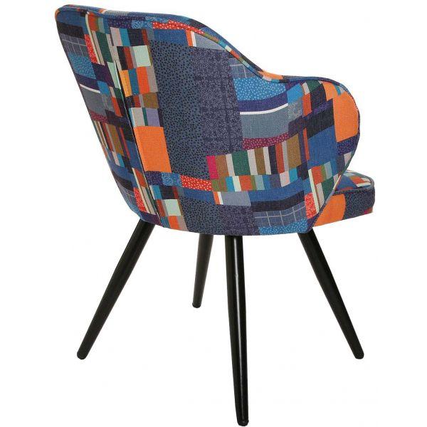 chaise fauteuil avec accoudoirs en tissu multicolore etna