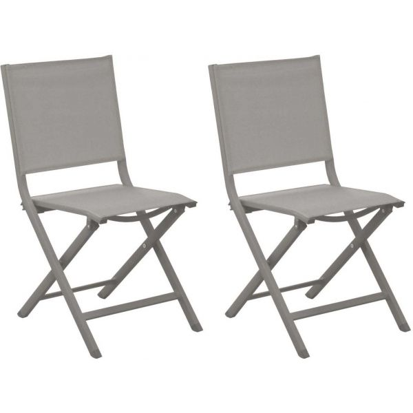 chaises jardin pliantes en aluminium thema lot de 2 taupe