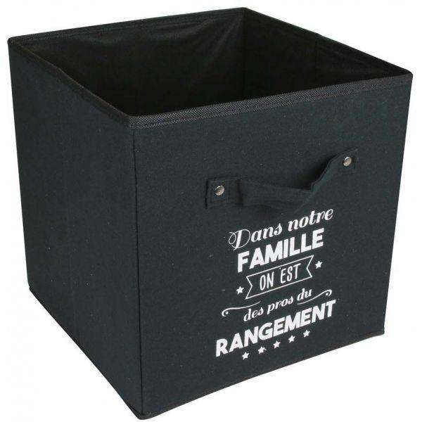 cube de rangement en tissu famille 30 cm noir
