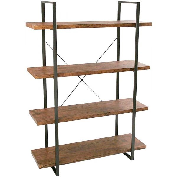 etagere style industriel bois et metal baldas 4 etageres