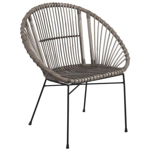 fauteuil rond en rotin gris et metal