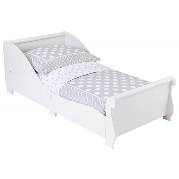 lit enfant traineau en bois blanc