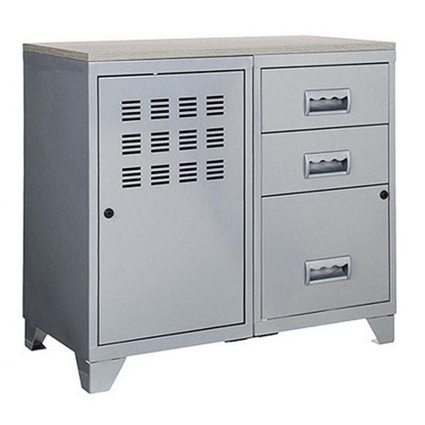 meuble bureau metal 1 porte 3 tiroirs aluminium