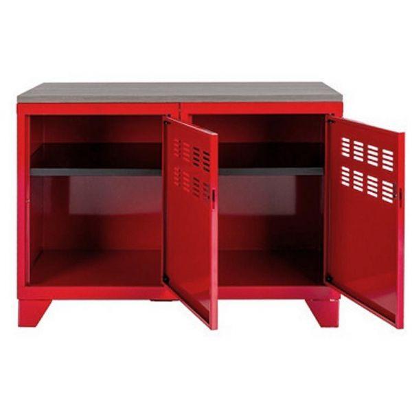 meuble rangement metallique 2 portes rouge