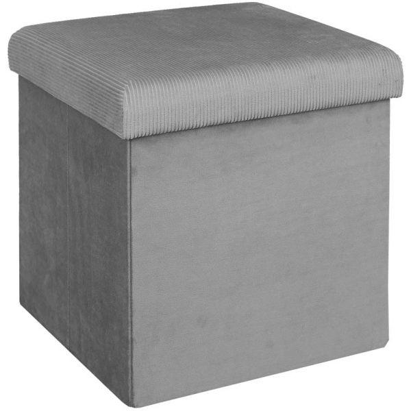 pouf coffre de rangement velours cotele giullia gris souris