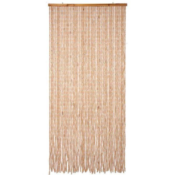 rideau de porte en bois clair