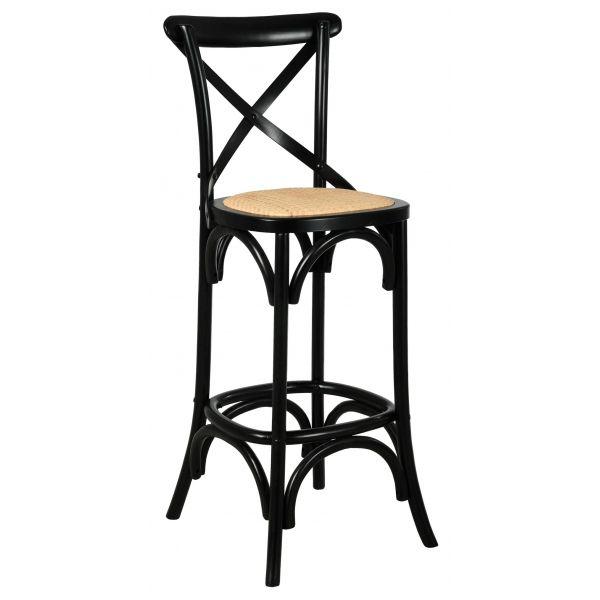 tabouret de bar bois et rotin bistrot chic bouleau laque noir