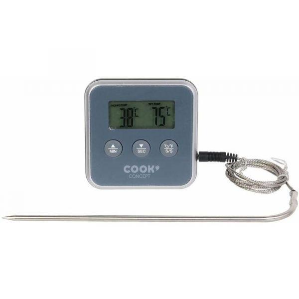 thermometre a sonde et minuteur electronique gris
