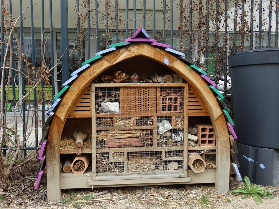 View of a homemade insect hotel