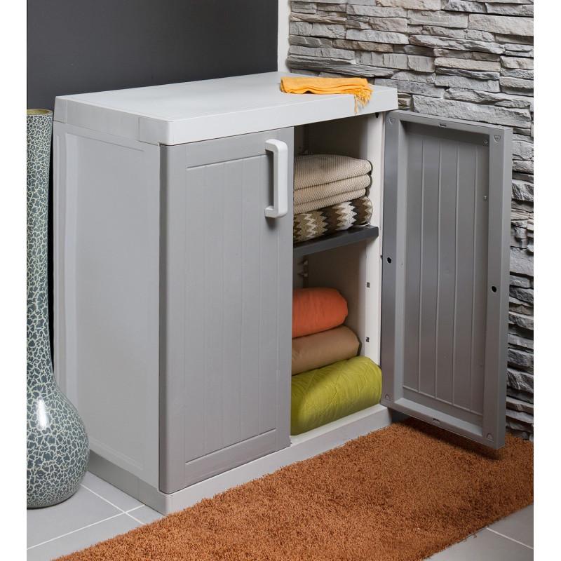 armoire basse 2 portes gris taupe
