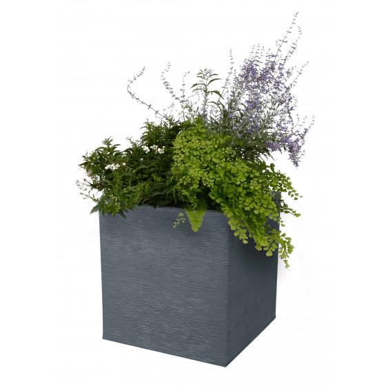 bac a fleurs carre bas 31 litres gris anthracite