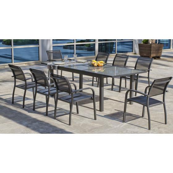 ensemble table de jardin extensible et chaise en alu gris grecio