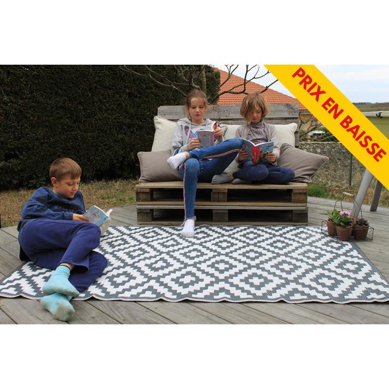 tapis d exterieur pour terrasse gris et blanc 120 cm x 180 cm