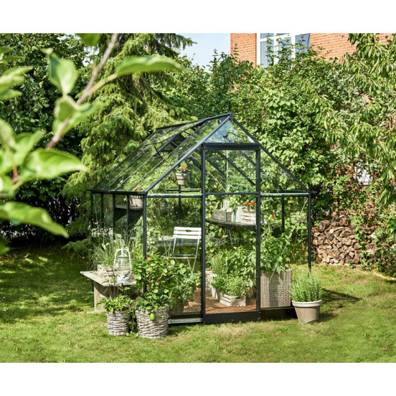 serre de jardin en verre et aluminium noir 5 1 m