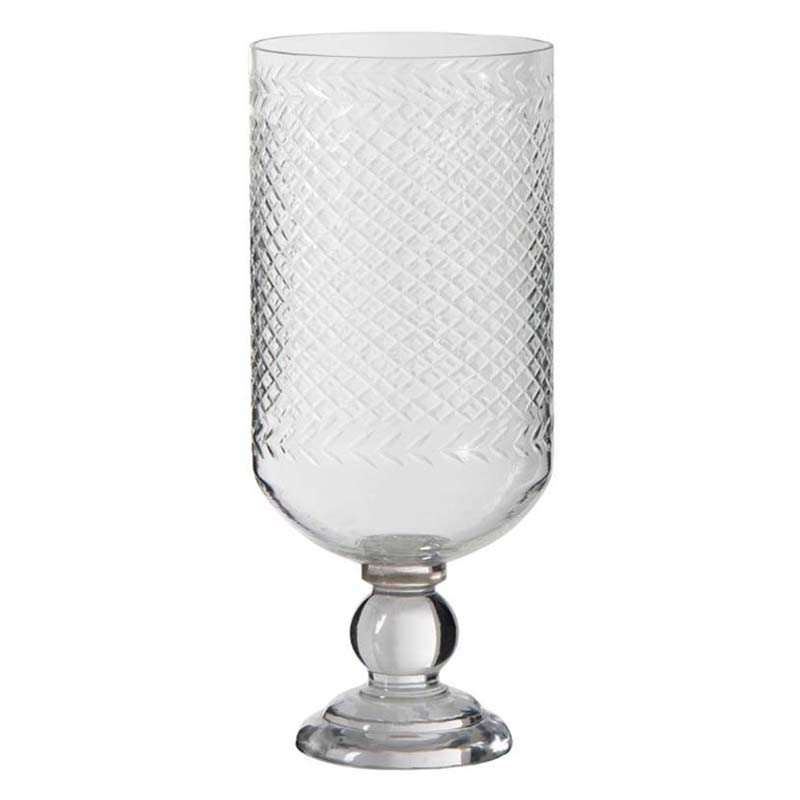 vase verre reliefs transparent 18x42 cm