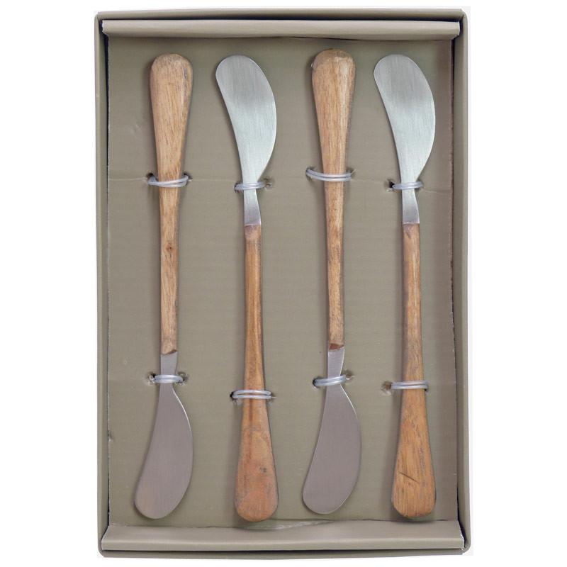 set 4 couteaux a beurre bois manguier 1 5x5 5 cm