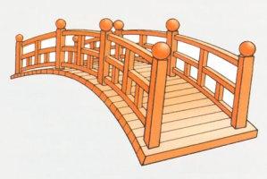 Pont cintré en bois laqué.