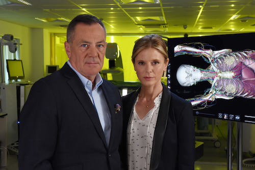 Programme Name: Jack the Ripper: The Case Reopened - TX: 04/04/2019 - Episode: n/a (No. n/a) - Picture Shows: with Anatomage table. Professor David Wilson, Emilia Fox - (C) BBC - Photographer: Hugh Campbell