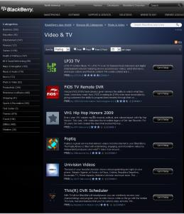 LP33.TV Highest Rated Blackberry Video and TV App