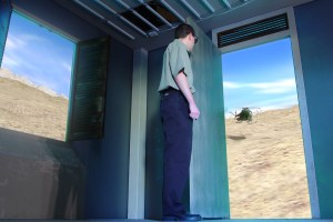 FlatWorld user views the external virtual world through a physical door.