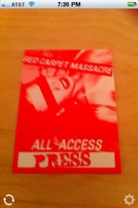 Promotional Backstage Pass Viewed with iPhone App