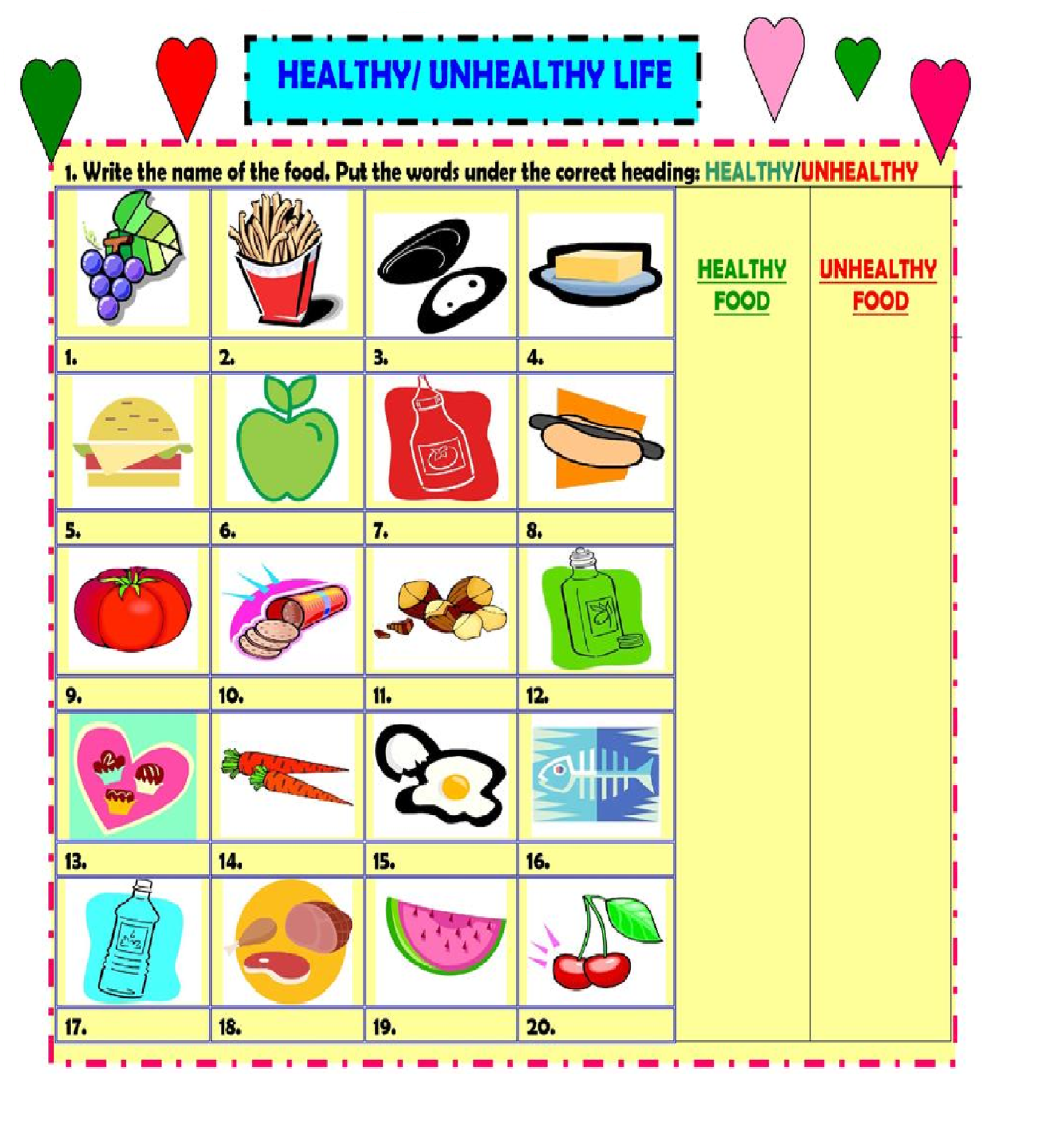 Healthy Vs Unhealthy Foods Worksheet