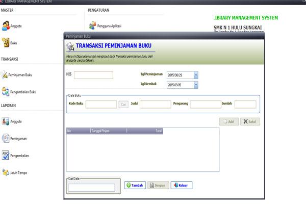 aplikasi perpus, perpustakaan, vb6, mysql