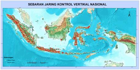 Gambar 3 - Sebaran Jaring Kontrol Geodesi (Vertikal) yang dipakai pada SRGI 2013