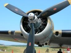 A close up look at of one of the Nine O Nine's Wright R-1820-97 engines.