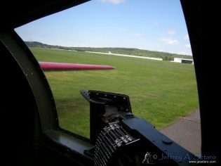The view from one of the Aluminum Overcast's waist guns.
