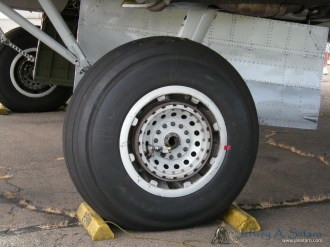 A close up look at the one of the Aluminum Overcast's landing gear.