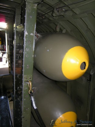 Dumby bombs in the Nine O Nine's bomb bay.