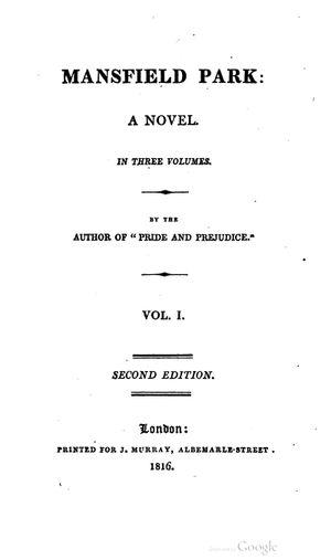 Mansfield Park. Seconda edizione (Murray, 1816)