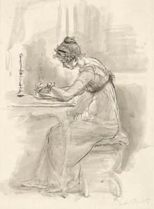 """""""L'esame di tutte le lettere che Jane le aveva scritto"""", di Isabel Bishop"""