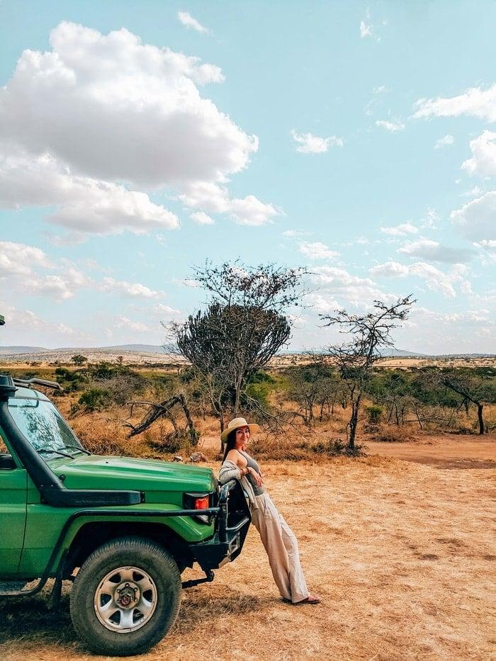 Girl on Akagera Safari tour