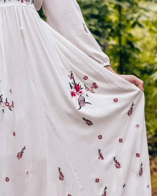 detailed embroidered white maxi dress