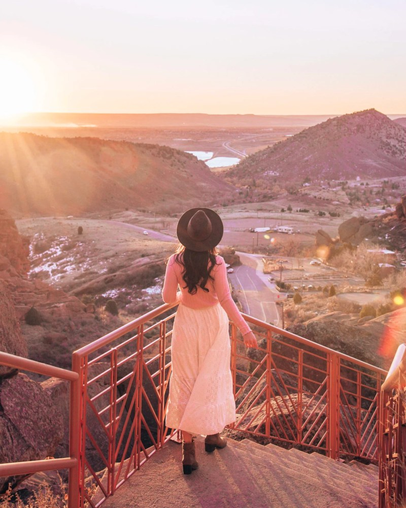 Sunrise at Red Rocks Amphitheater in Morrison, a hidden gem near Denver, Colorado.