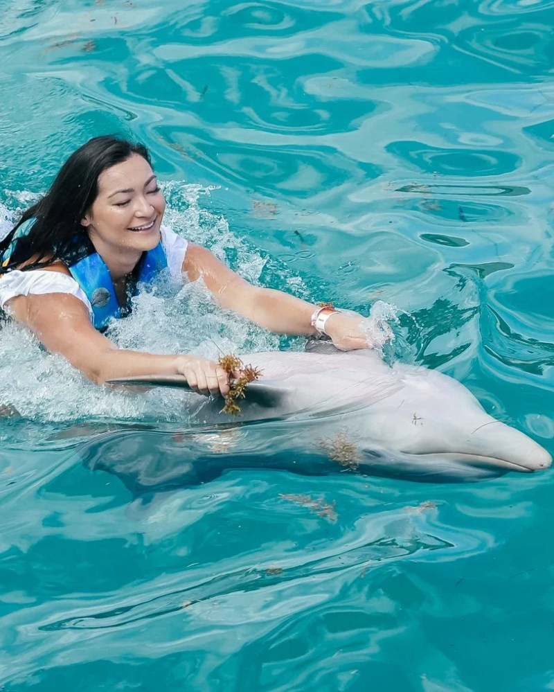 swimming with dolphins on the Isla de Mujeres off the coast of the Yucatan Peninsula near Cancun, Mexico