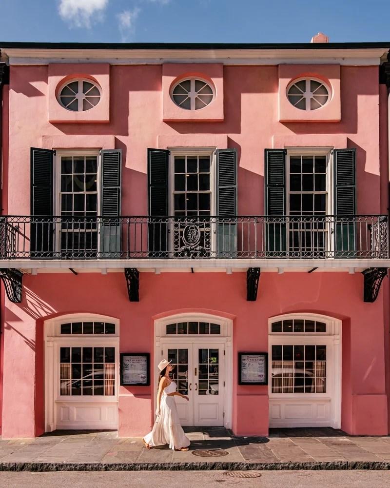 Brennans pink restaurant in New Orleans French Quarter