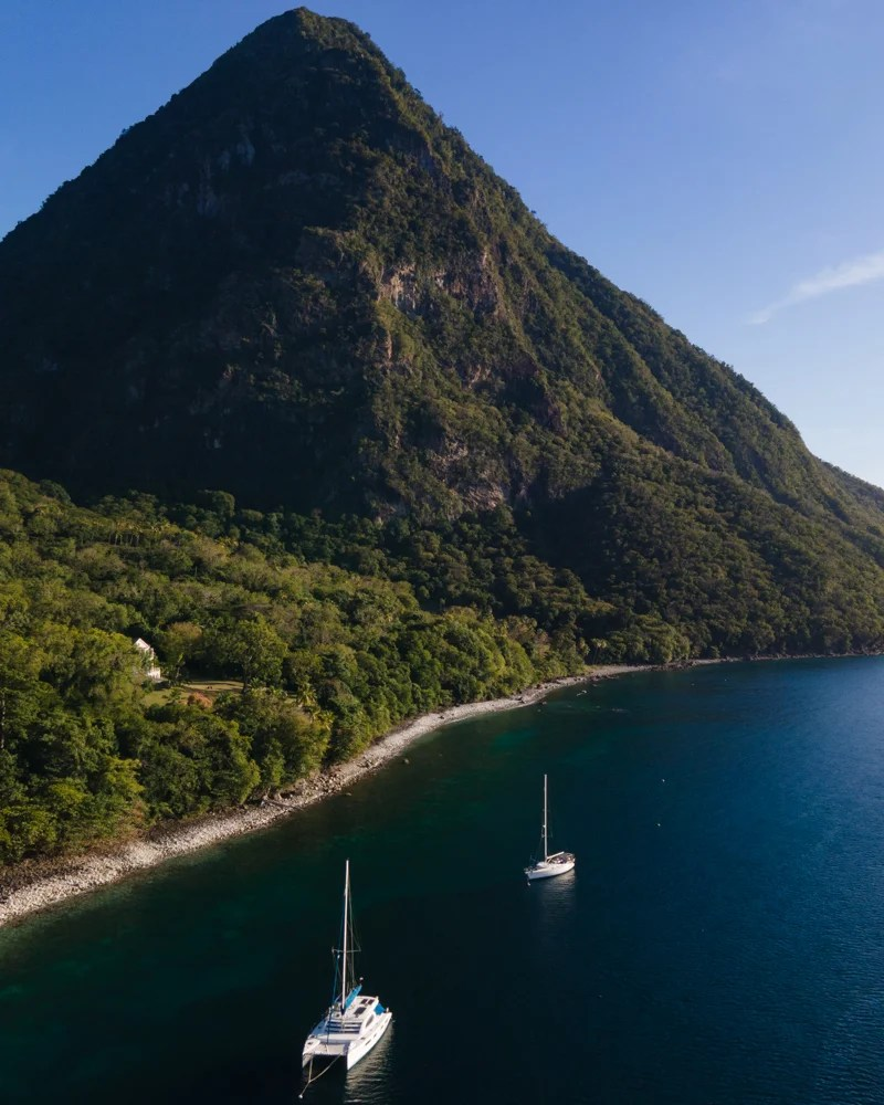 boats at Gros Piton in Saint Lucia