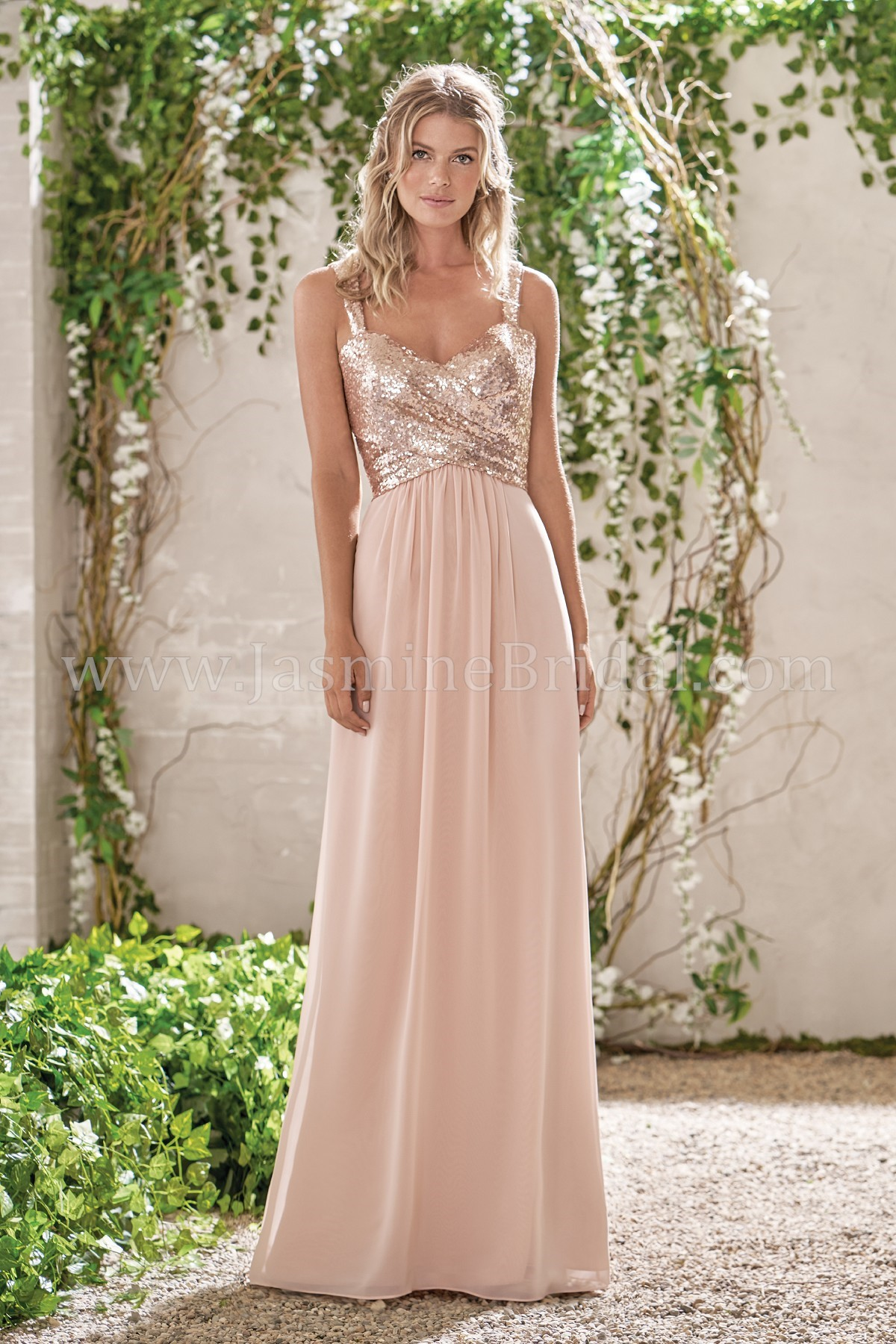 B193005 Long Sweetheart Neckline Sequin   Poly Chiffon Bridesmaid Dress