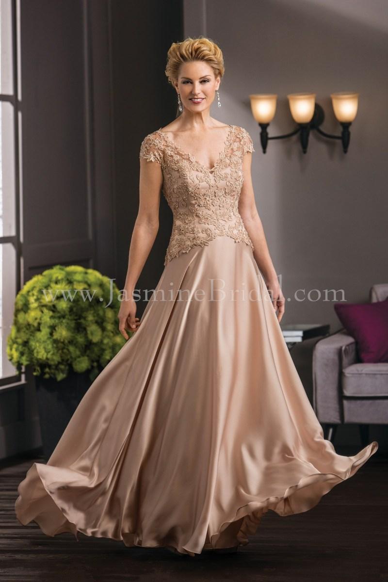 47cda095afb K188051 Long V Neck Lace Satin Face Chiffon Mob Dress With Cap Sleeves